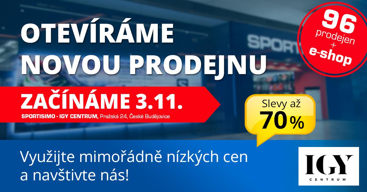 NOVÁ PRODEJNA v Českých Budějovicích. V IGY Centru nyní nakoupíte se slevami až 70 %!