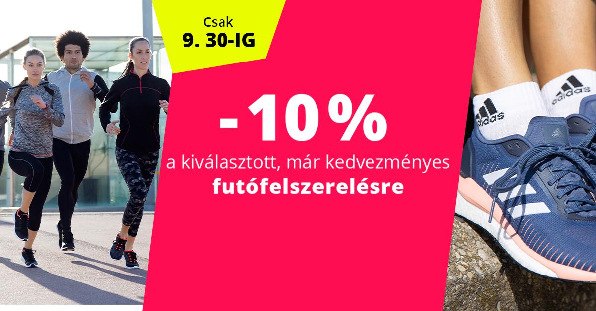 10% kedvezmény a kiválasztott, már kedvezményes futófelszerelésre