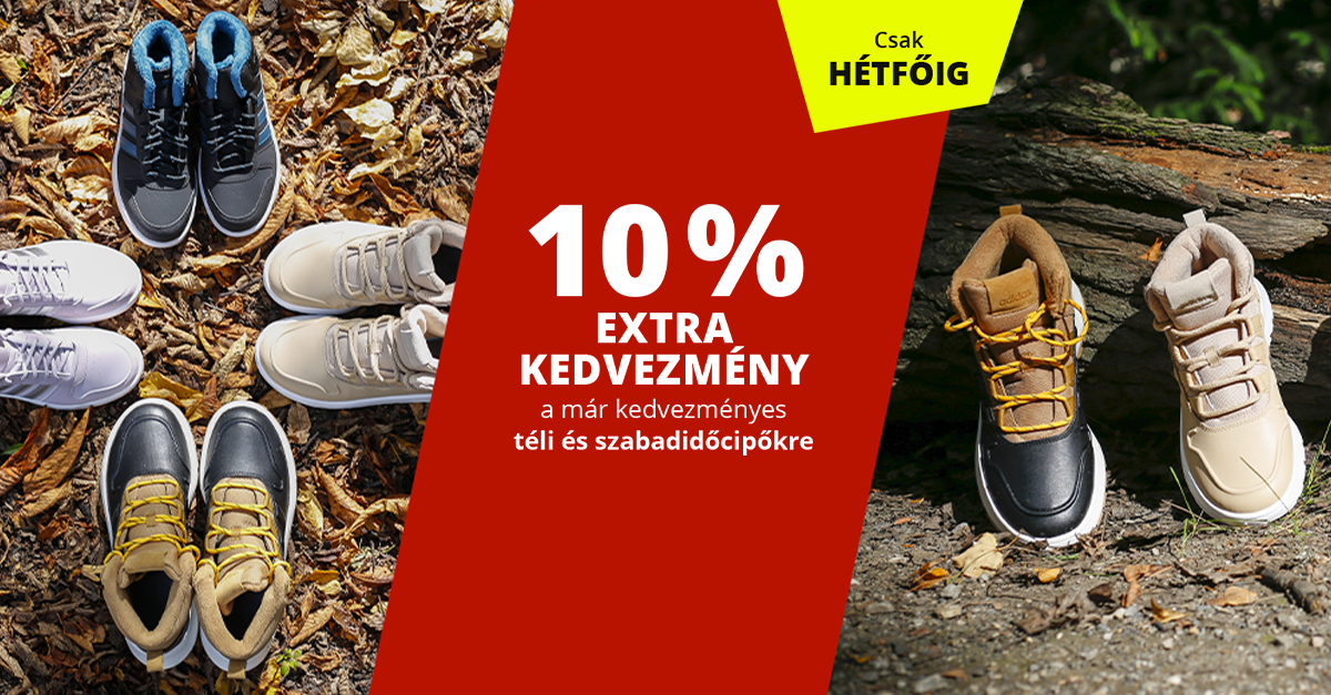 Téli és szabadidőcipők 10%-kal olcsóbban