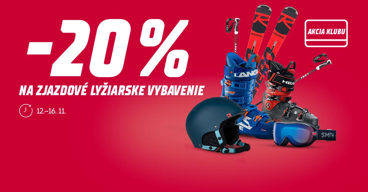 Využite akčnú zľavu 20 % na všetky zjazdové lyžiarske vybavenie