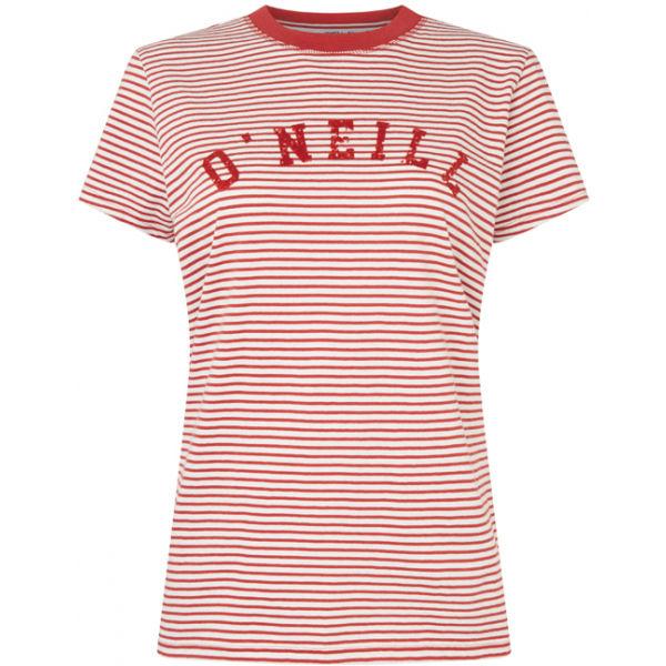 O'Neill LW ESSENTIALS STRIPE T-SHIRT červená XS - Dámské tričko