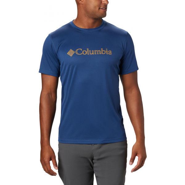 Columbia ZERO RULES SHORT SLEEVE GRAPHIC SHIRT modrá XL - Pánské sportovní triko