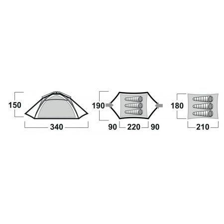 Туристическа палатка - Husky BEASY 3 BLACKROOM - 8