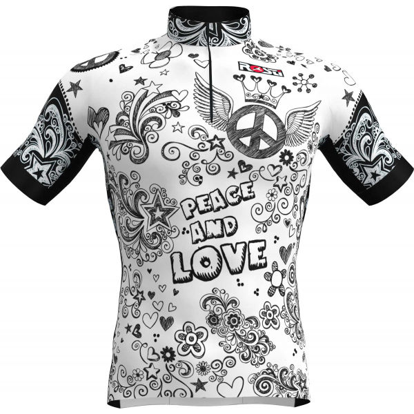 Rosti PEACE AND LOVE biela XL - Pánsky cyklistický dres