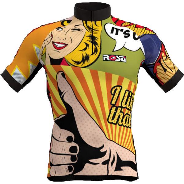 Rosti POP ART žltá XL - Pánsky cyklistický dres