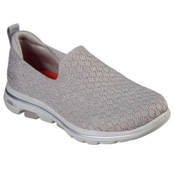 Skechers GO WALK 5 BRAVE šedá 37 - Dámské nazouvací boty