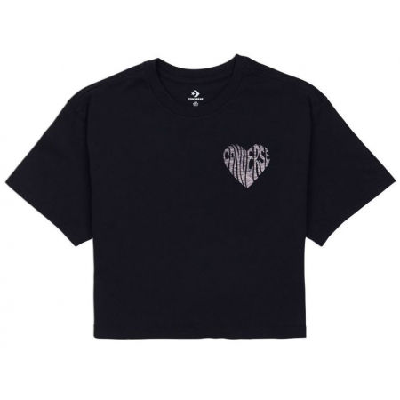 Converse WOMENS  LEFT CHEST HEART CROPPED TEE - Tricou crop damă