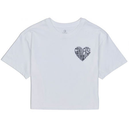 Dámské crop tričko - Converse WOMENS  LEFT CHEST HEART CROPPED TEE