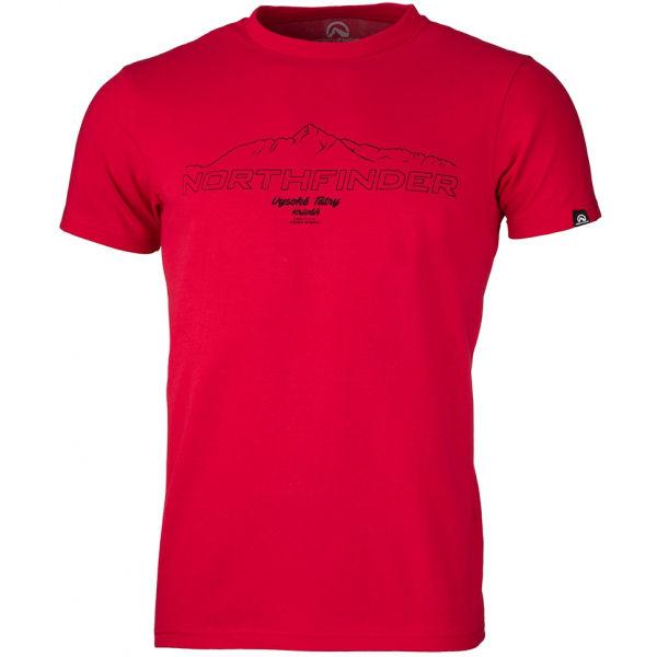 Northfinder ANTIN červená L - Pánske tričko