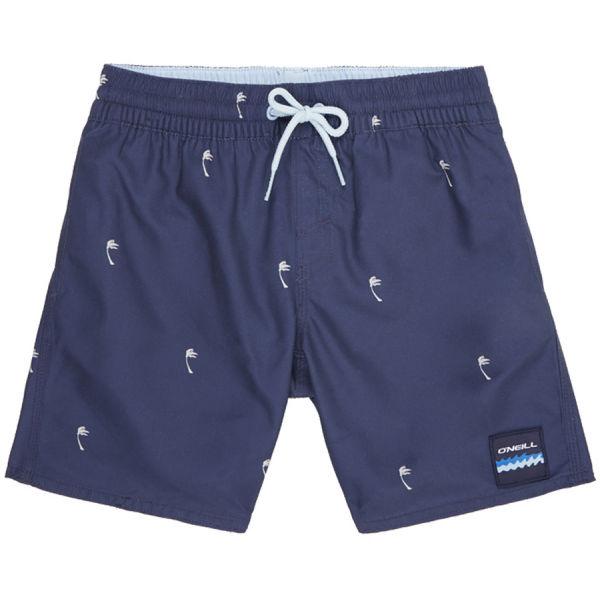 O'Neill PB MINI PALMS SHORTS tmavo modrá 152 - Chlapčenské kúpacie šortky