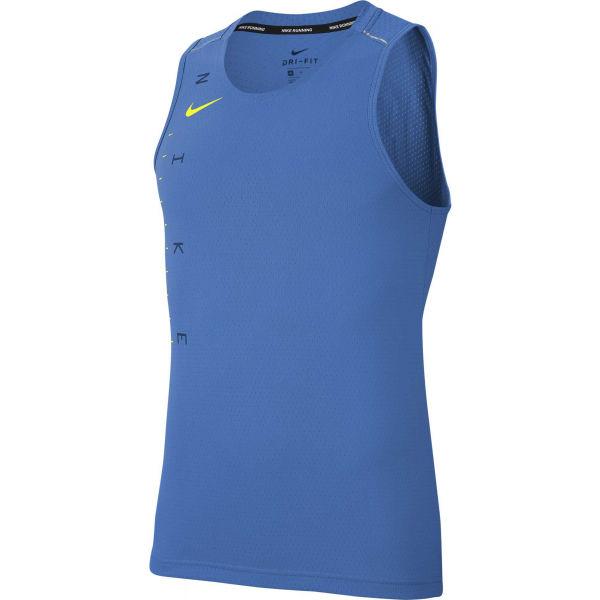 Nike DRY MILER TANK TECH GX FF M modrá L - Pánský běžecký top