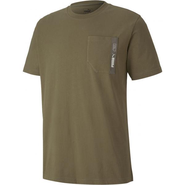 Puma NU-TILITY POCKET TEE tmavě zelená XXL - Pánské triko
