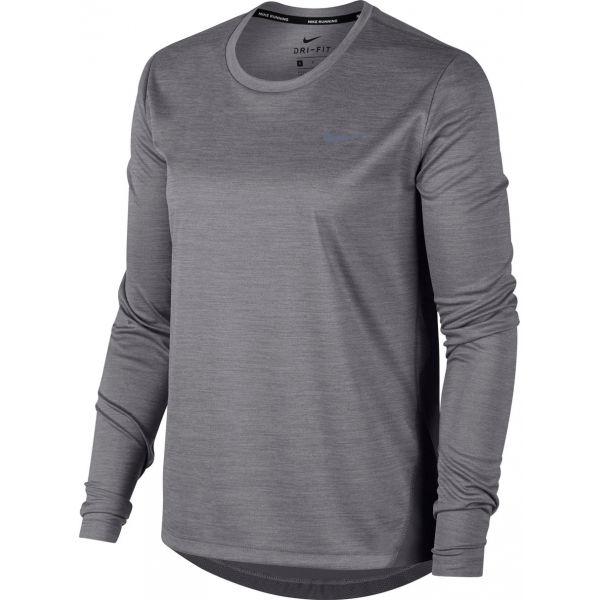 Nike MILER TOP LS šedá M - Dámské běžecké triko