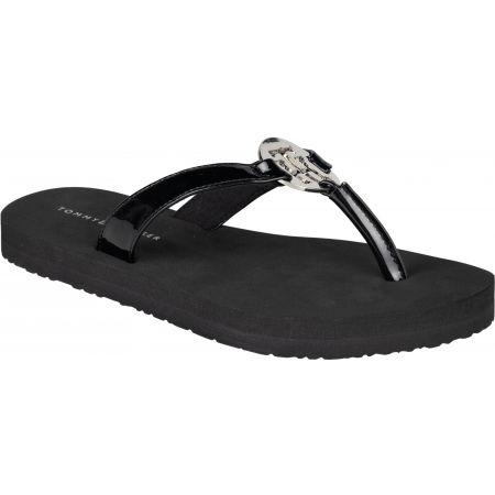 Tommy Hilfiger FEMININE PATENT BEACH SANDAL - Női flip-flop papucs
