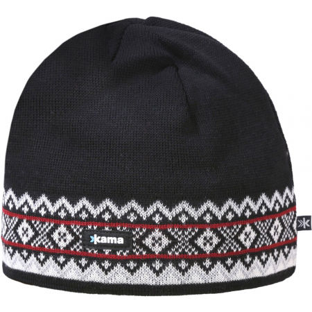 Knitted beanie with a traditional pattern - Kama BEANIE MERINO A144