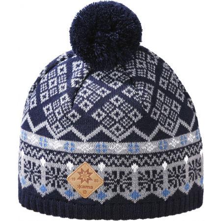 Kama ШАПКА МЕРИНО A146 - Плетена шапка с помпон