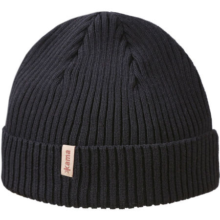 Knitted winter beanie - Kama MERINO BEANIE WITH A ROLLED-UP HEM A148