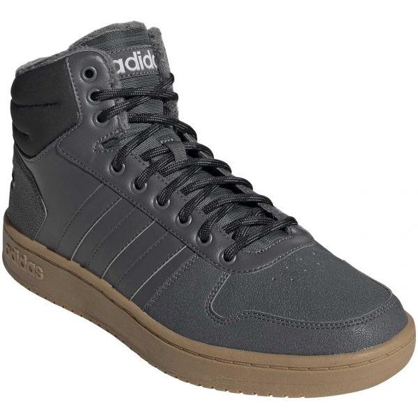 adidas HOOPS 2.0 MID šedá 7 - Pánská volnočasová obuv
