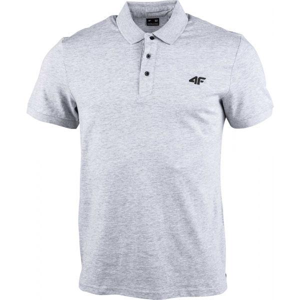 4F MEN´S T-SHIRT sivá L - Pánske polo tričko