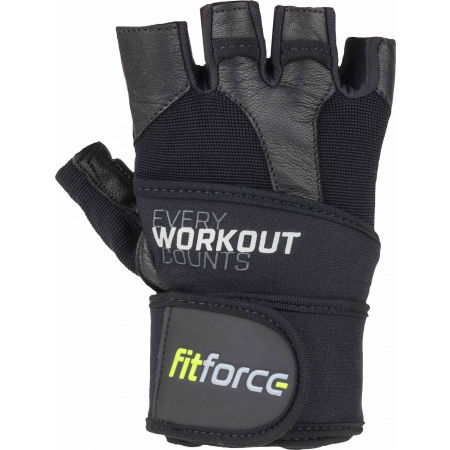 Fitforce LINEAR - Leather fitness gloves