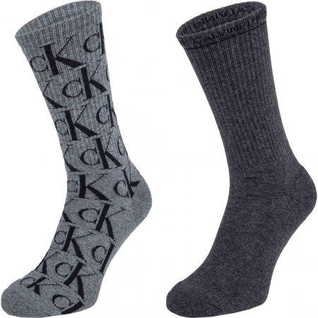 Calvin Klein MENS 2PK CREW CK JEANS  MONOGRAM JOHN - Pánské ponožky