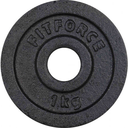 WEIGHT DISC PLATE 1KG BLACK METAL 30MM - Weight Disc Plate - Fitforce WEIGHT DISC PLATE 1KG BLACK METAL 30MM