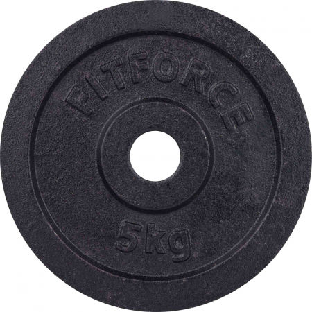 WEIGHT DISC PLATE 5KG BLACK METAL 30MM - Weight Disc Plate - Fitforce WEIGHT DISC PLATE 5KG BLACK METAL 30MM