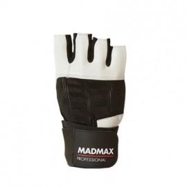 Nutrend MadMax PROFESSIONAL bielo-čierne M - Fitnes rukavice