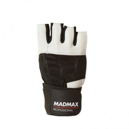 FITNES RUKAVICE - Nutrend MadMax PROFESSIONAL bielo-čierne M