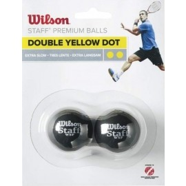 Wilson STAFF SQUASH 2 BALL DBL YEL DOT