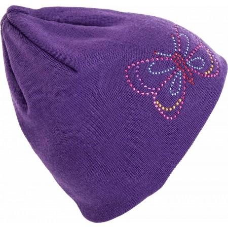 Dievčenská pletená čiapka - Lewro VIOLET - 2