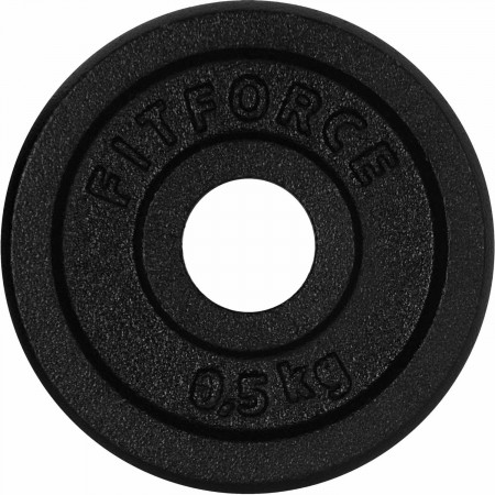 WEIGHT DISC PLATE 0,5KG BLACK METAL - Weight Disc Plate - Fitforce WEIGHT DISC PLATE 0,5KG BLACK METAL