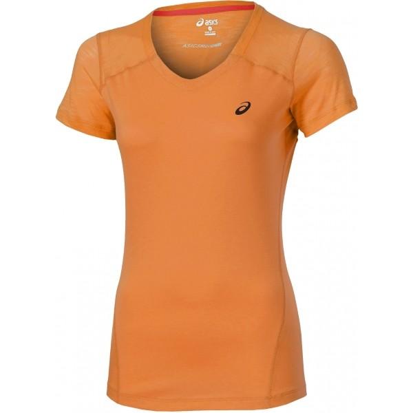Asics FUZE X V-NECK SS TOP pomarańczowy L - Koszulka sportowa damska