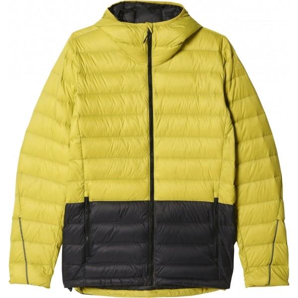 adidas LIGHT DOWN HOODED JACKET CB žlutá 56 - Pánská outdoorová bunda