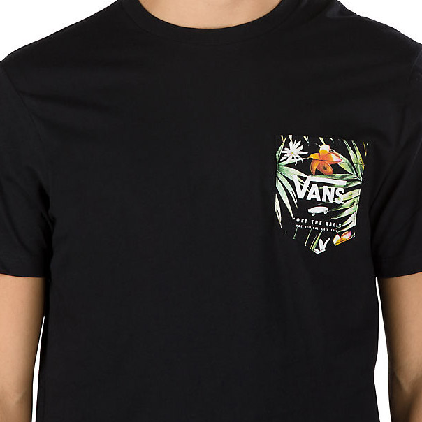7770e60d14f14c Vans PRINT BOX POCKET TEE Black Decay Palm