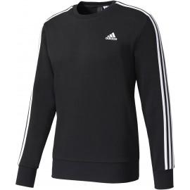 adidas ESSENTIALS 3 STRIPES CREW FRENCH TERRY - Pánské tričko s dlouhým rukávem