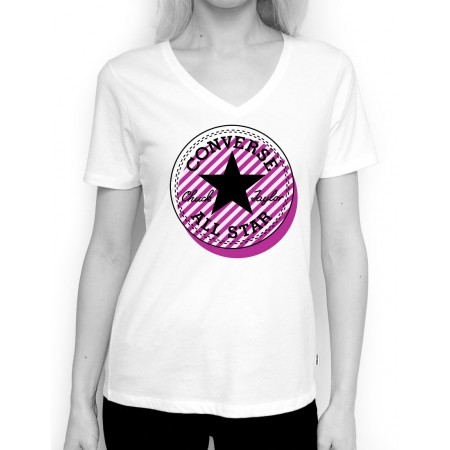 Dámské tričko - Converse OFF CENTER STRIPE FILL CP VNECK TEE - 1