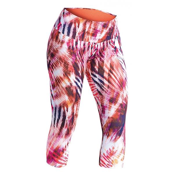 Axis RUN SPODNIE 3/4 W PRINT pomarańczowy 42 - Spodnie do biegania 3/4 damskie