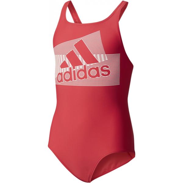 adidas BTS PER LOG 1PC červená 128 - Dievčenské jednodielne plavky