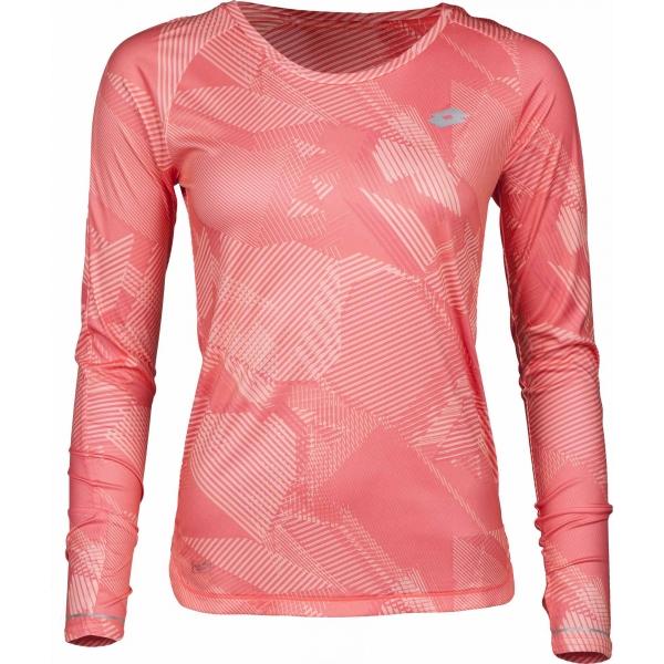 Lotto X RIDE II TEE LS PRT W różowy L - Koszulka sportowa damska