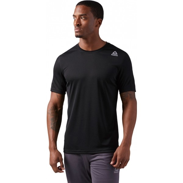 Reebok COMMERCIAL CHANNEL SHORT SLEEVE čierna M - Pánske športové tričko