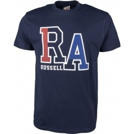 Russell Athletic S/S CREW TEE WITH LARGE RA MESH EFFECT RAISED PRINT - Koszulka męska