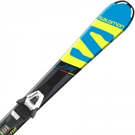 Salomon E X-RACE JR S + E C5 - Kids' downhill skis