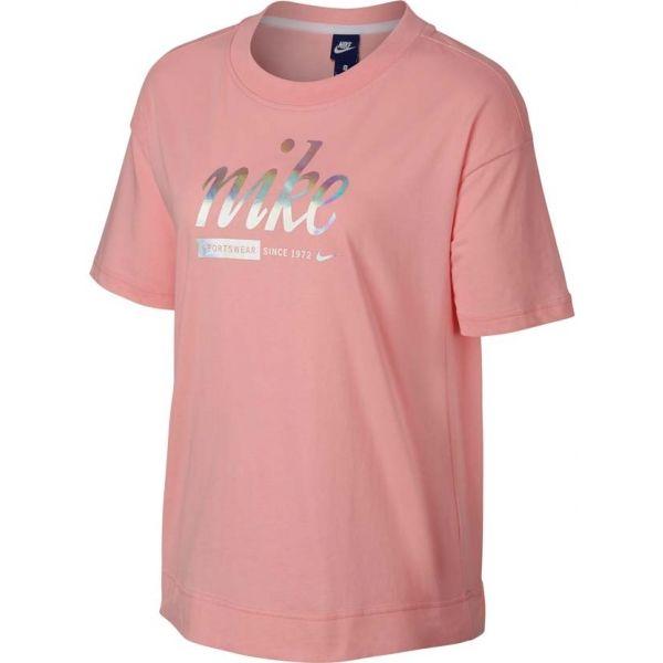 Nike SPOSTSWEAR TOP CROP METALLIC růžová M - Dámské tričko