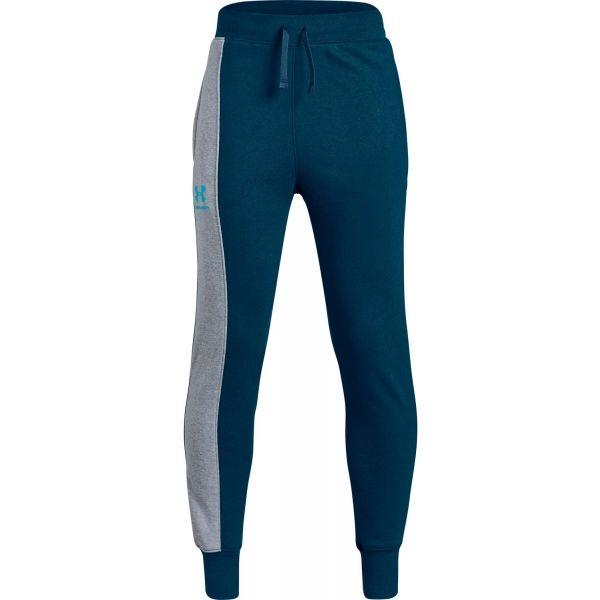 Under Armour RIVAL BLOCKED JOGGER niebieski XL - Spodnie dresowe dziecięce