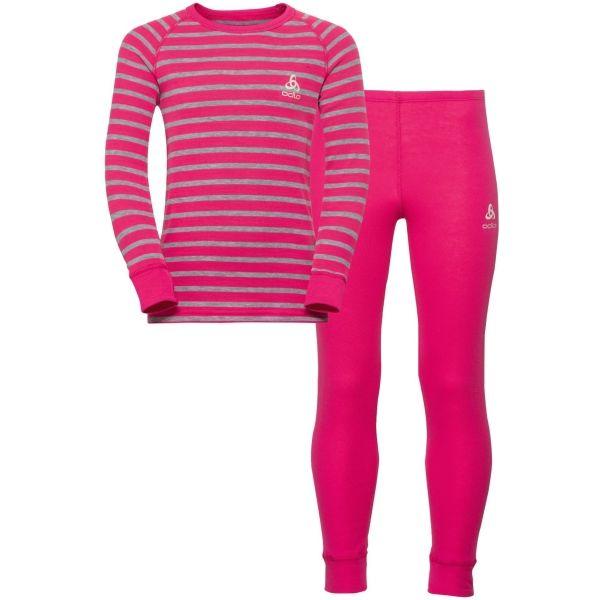 Odlo WARM KIDS SHIRT L/S + PANTS ružová 140 - Detský funkčný set