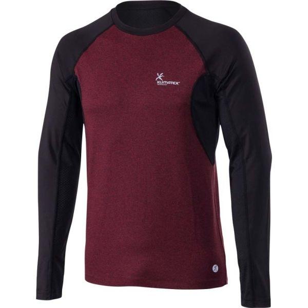 Klimatex SVEN bordowy M - Koszulka do biegania z długim rękawem męska