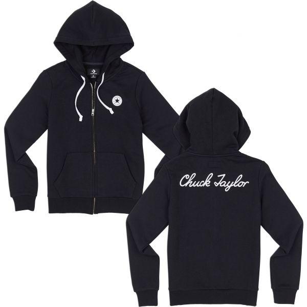 Converse CHUCK TAYLOR FULL-ZIP HOODIE fekete S - Női pulóver