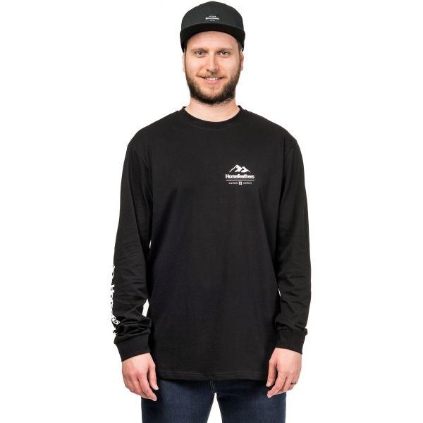 Horsefeathers KENT LS T-SHIRT fekete M - Hosszú ujjú férfi póló
