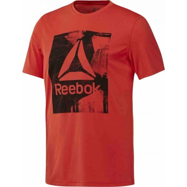 Reebok WORKOUT READY GRAPHIC SMU TOP červená M - Pánské triko